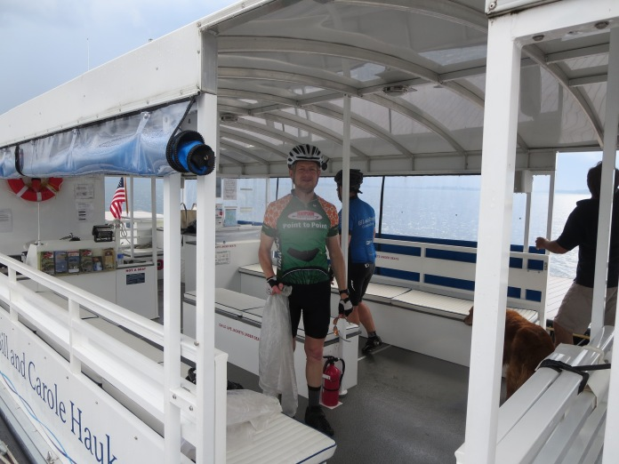 Andy on bike ferry across cut in Island Line in South Hero.  (Thanks Local Motion!)